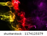 multicolour smoke on black... | Shutterstock . vector #1174125379