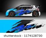 car decal wrap design vector....   Shutterstock .eps vector #1174128730