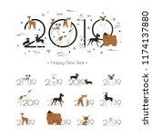2019 dog calendar  creative... | Shutterstock .eps vector #1174137880