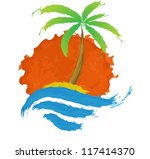 tropical palm on island with...   Shutterstock .eps vector #117414370