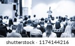 speaker giving a talk in... | Shutterstock . vector #1174144216