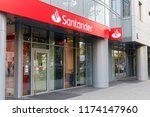 Small photo of WARSAW/POLAND - SEPTEMBER 7, 2018: View on the entrance to Santander Bank (previously Bank Zachodni, BZWBK) office after rebranding