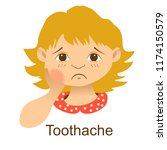 the girl has a toothache.... | Shutterstock .eps vector #1174150579