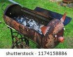 homemade metal brazier barbecue ...   Shutterstock . vector #1174158886