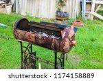 homemade metal brazier barbecue ...   Shutterstock . vector #1174158889