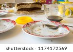 dirty dishes on the table after ... | Shutterstock . vector #1174172569