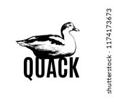 quack. vector poster with hand... | Shutterstock .eps vector #1174173673