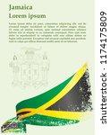 flag of jamaica  commonwealth... | Shutterstock .eps vector #1174175809