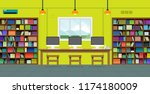 in the library with bookshelves ... | Shutterstock .eps vector #1174180009