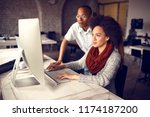 female worker with male... | Shutterstock . vector #1174187200