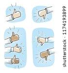 set of different hands showing...   Shutterstock .eps vector #1174193899