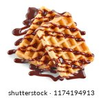 waffles with chocolate sauce...   Shutterstock . vector #1174194913