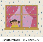 window with pink curtains on a...   Shutterstock .eps vector #1174206679