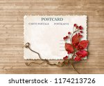 autumn background with vintage... | Shutterstock . vector #1174213726