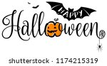 happy halloween text banner.... | Shutterstock .eps vector #1174215319