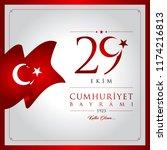 29 ekim cumhuriyet bayrami... | Shutterstock .eps vector #1174216813