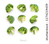 seamless pattern with broccoli. ... | Shutterstock . vector #1174219459