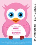 birthday invitation owl design | Shutterstock .eps vector #1174228333