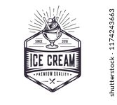 retro ice cream logo. vintage... | Shutterstock .eps vector #1174243663