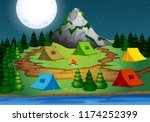 camping in the forest at night... | Shutterstock .eps vector #1174252399