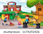 volunteer kids collecting trash ... | Shutterstock .eps vector #1174252426