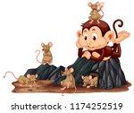 monkey looking at rat... | Shutterstock .eps vector #1174252519