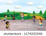 children play hop scotch... | Shutterstock .eps vector #1174252540
