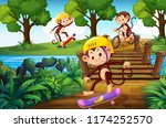 Stock vector monkey and extreme sport in the park illustration 1174252570