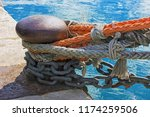 many colorful boat ropes and... | Shutterstock . vector #1174259506