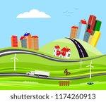 truck on the highway city on... | Shutterstock .eps vector #1174260913