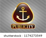 gold emblem with anchor icon... | Shutterstock .eps vector #1174273549