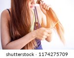 closeup portrait of female... | Shutterstock . vector #1174275709