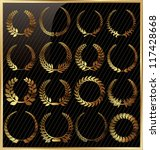 set from gold laurel wreath on... | Shutterstock .eps vector #117428668