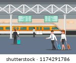 business people in modern train ...   Shutterstock .eps vector #1174291786