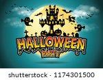 halloween vector lettering... | Shutterstock .eps vector #1174301500