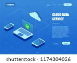 cloud data service banner.... | Shutterstock .eps vector #1174304026