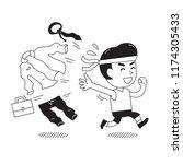 cartoon businessman changing... | Shutterstock .eps vector #1174305433