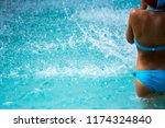 close up of a child diving in... | Shutterstock . vector #1174324840