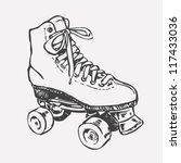 retro roller skate. drawing... | Shutterstock .eps vector #117433036