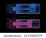 crypto keys management icons... | Shutterstock .eps vector #1174335379