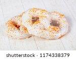 sweet tasty pretzel ower wooden ...   Shutterstock . vector #1174338379