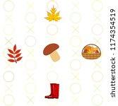 rubber boots fallen leaf basket ... | Shutterstock .eps vector #1174354519