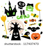 halloween elements set isolated ... | Shutterstock .eps vector #117437473