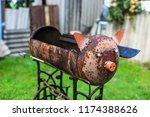 homemade metal brazier barbecue ...   Shutterstock . vector #1174388626