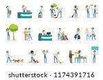 set of young volunteers helping ... | Shutterstock .eps vector #1174391716