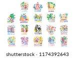 exotic islands summer vacation...   Shutterstock .eps vector #1174392643