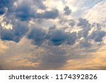 sunset sky with blue clouds | Shutterstock . vector #1174392826