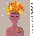 autumn landscape on the head in ... | Shutterstock . vector #1174396819