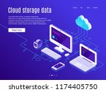 cloud storage landing page.... | Shutterstock .eps vector #1174405750