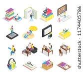isometric book set. reading... | Shutterstock .eps vector #1174405786